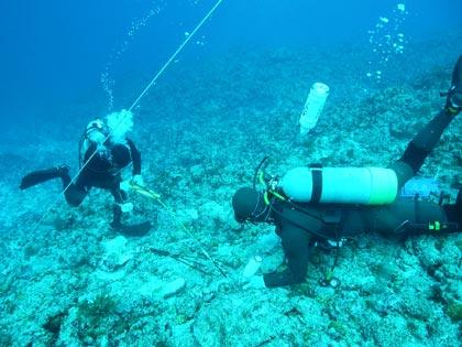 海底状況調査中