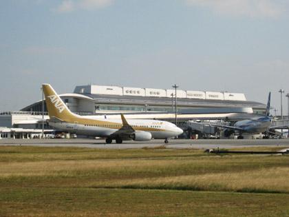 金色の全日空機