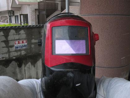 溶接マスク着用